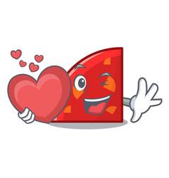 With heart quadrant mascot cartoon style vector