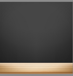 wooden table against background a black vector image