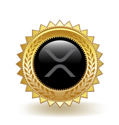Xrp cryptocurrency coin gold badge vector