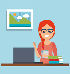 young woman in workplace vector image