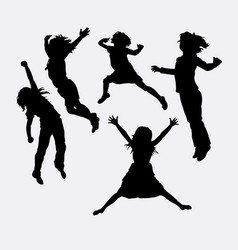 Children happy action silhouette vector