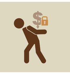 crisis economy save money concept icon design vector image vector image
