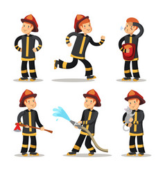fireman cartoon character set firefighter vector image vector image