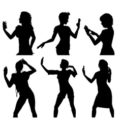 Girl silhouettes taking selfie with smart phone vector image vector image