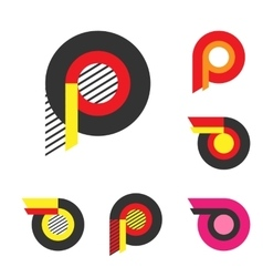 Letter P Or Wheel With Fire Logo Minimalism Art vector image