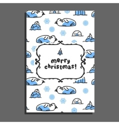 Merry christmas greeting card with cute cartoon vector image vector image