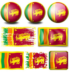 Sri Lanka flag on different objects vector image vector image