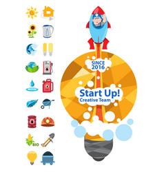 start up creative team energetics start up with vector image