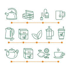 tea time linear icons vector image vector image
