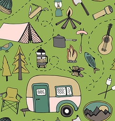 Camping pattern vector image