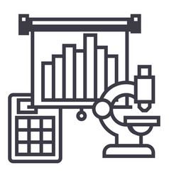 marketing research flip chart line icon vector image