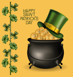 Poster happy saint patricks day with hat over vector