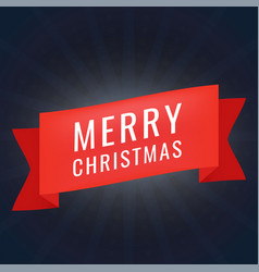 red realistic paper merry christmas banner on dark vector image vector image