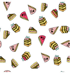 seamless pattern with doodle sweet cakes vector image
