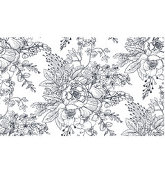 seamless pattern with hand drawn flowers and vector image vector image