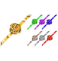 set of corner big bows of shiny ribbons vector image vector image