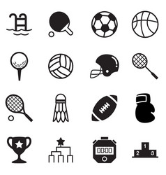 Silhouette basics sports equipment icons symbol vector