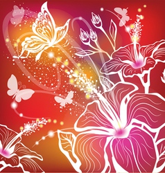 background with flowers hibiscus and butterfly vector image vector image