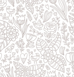 Flowers birds hearts seamless pattern vector image vector image