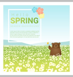 Hello spring landscape background with bear 1 vector image vector image