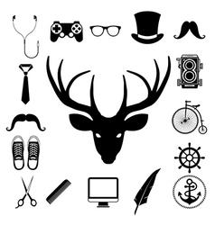 Hipster retro vintage elements icon set vector image