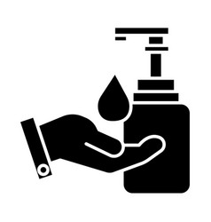 liquid soap with hand icon vector image