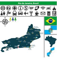 map of rio de janeiro brazil vector image vector image