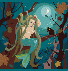 mermaid sits on a tree branch vector image vector image