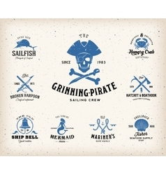 Vintage Nautical Labels or Design Elements With vector image vector image