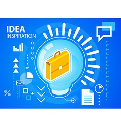 bright light bulb and work suitcase on blue vector image