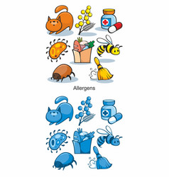 cartoon allergen icons set vector image
