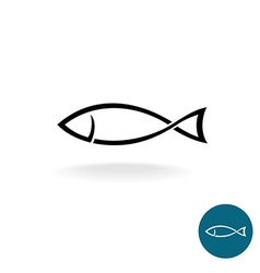 Fish simple black linear silhouette elegance logo vector image vector image