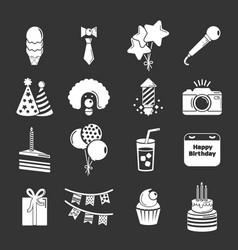 happy birthday icons set grey vector image
