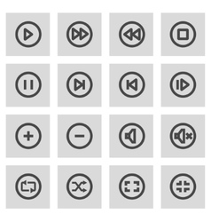 line media buttons icons set vector image vector image