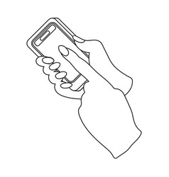Mobile phone in hand e-commerce single icon in vector
