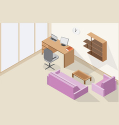 modern office interior and wooden table purple vector image