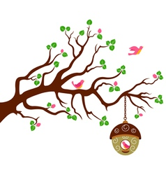 Tree with cute bird house vector image vector image
