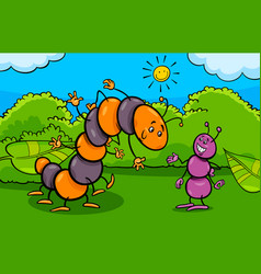 Ant and caterpillar insect cartoon characters vector