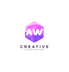 Aw initial logo with colorful hexagon modern vector