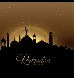 beautiful ramadan kareem scene with glowing mosque vector image