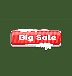 Big sale web button covered snow online shopping vector