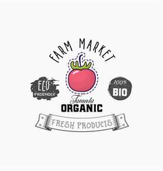 bio sticker and eco products tomato web element vector image