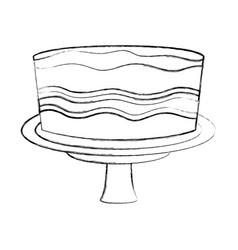 birthday sweet cake in stand party decoration hand vector image