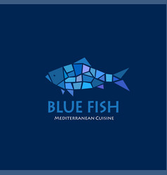 Blue fish logo seafood cuisine restaurant vector