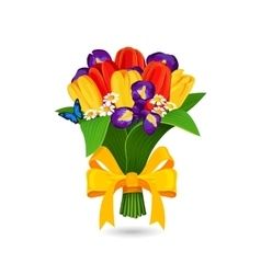 bouquet red yellow tulip and blue irises vector image