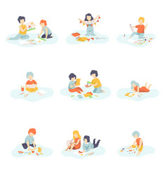 boys and girls sitting on floor painting cutting vector image