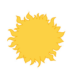bright yellow sun cartoon style hand drawn vector image