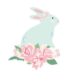 bunny with flower bouquet vector image