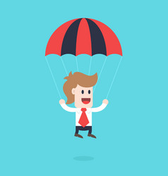Businessman cartoon character - guy with parachute vector