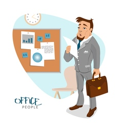 Businessman in his office with report vector